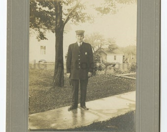 Man in Uniform [police, Fire] - Original Silver Print Photograph
