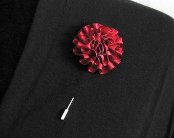 Burgundy lapel pin, mens boutonniere, grooms boutonniere, groomsmen, wedding lapel pin, mens lapel pin, lapel flower pin, groomsmen corsage