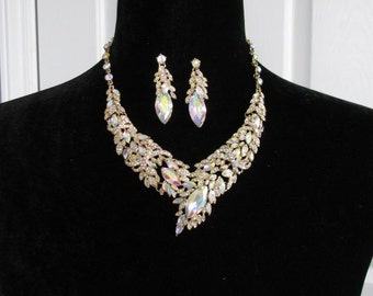 Bridal Statement Necklace Set Wedding Jewelry Set earrings Vintage Inspired Necklace Rhinestone Necklace chunky necklace Bridal Necklace