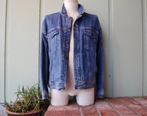 VTG Mens Small Gap Fitted Denim Jean Jacket Coat Full Button Zippered Fall Autumn Spring Preppy Hipster Fashion Moto Trucker Racer Coat
