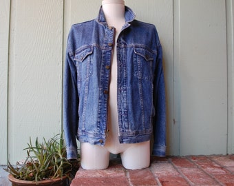 VTG Mens Small Gap Fitted Denim Jean Jacket Coat Full Button Zippered Spring Preppy Hipster Fashion Moto Trucker Racer Coat Motorcycle