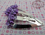Bright Violet Barrettes - 1 pair - purple glass pearls, Swarovski crystals, steel heart snap clip for girls, teens, and women by reynared