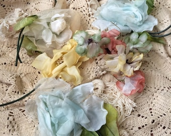 A Vintage Collection Of Shabby Chic Millinery Flowers