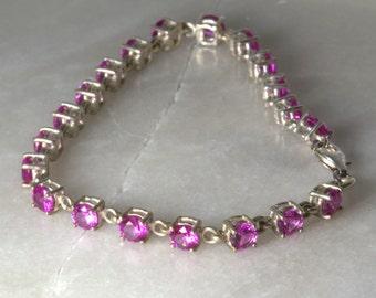 Stunning Pink Sapphire Silver Bracelet.