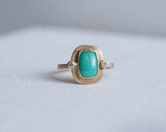 Dyer Blue Turquoise Rectangle + Diamond Ring | 14k Recycled Gold | One of a Kind