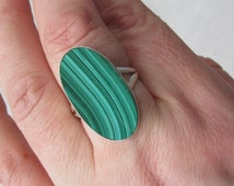 Sale, Adorable Green Indian Malachite, Size 10 USA, 925 silver, One of a Kind, Unique Stone, To Attract Prosperity