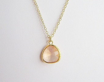Peach / Blush /  Pendant Necklace / Necklace / Champagne / Drop Necklace  / Bridesmaids / Gift / Wedding / Dainty / Gold / Simple