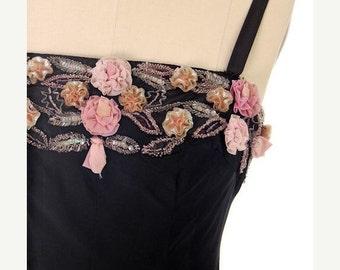 On Sale Now Stunning Vintage 1950s Black Evening Dress Gorgeous Unique  Flower Embellishments 36-31-44