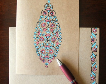 Block Printed Card, Indian Theme Card, Hand Painted Kraft Card-Floral Motif