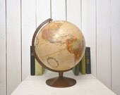 "Vintage World Globe Late 1970s Replogle Beige Spinning Table Top 12"" Globe"