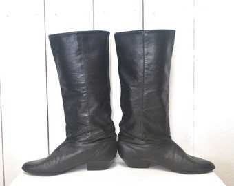 Dexter Boots Slouchy Knee High Boots Black Leather 1980s Vintage Pointed Toe US Size 7