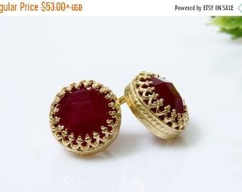 SUMMER SALE - ruby earrings,July birthstone earrings,gold earrings,post earrings,stud earrings,gold studs