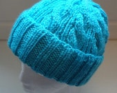 Turquoise Cable Hand-Knit Hat. Super soft, for men or women- Ready to be Shipped