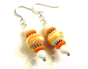 White & Orange Swirl Lampwork Earrings, Orange Lampwork Earrings, White Lampwork Earrings, Lampwork Jewelry, Orange Earrings, White Earrings
