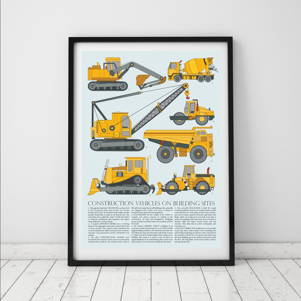 Truck prints for toddlers boys room decor construction wall for Room decor canada