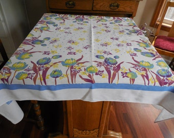 "Wonderful Vintage Tablelcoth Tulips Daffodis Blue Yellow Maroon 48"" x 56"""