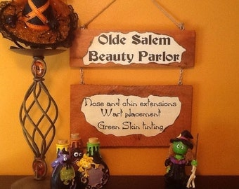 Old Salem Beauty Parlor Sign - witch sign - handmade sign - halloween sign - salem witch sign - beauty shop - witch - hairdresser