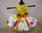 Dog Dress XS Yellow  With Large  Polkadots  By Nina's Couture Closet