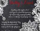 Lace Chalkboard Wedding Invitations, Chalkboard Wedding Invitation, Custom Wedding Invites, Custom Listing for shetho33