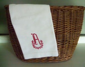 Vintage Hand Towel Tea Towel Red Embroidery Monogram - Letter A