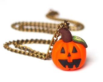 Pumpkin Necklace Halloween Necklace (bronze necklace kawaii jewelry polymer clay cute jewelry orange necklace halloween jewelry )