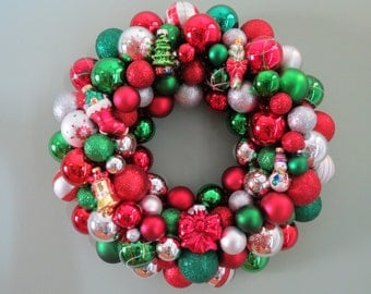 "CHRISTMAS WREATH Shatterproof wreath Red Green Silver Christmas Ornament Wreath 18"""