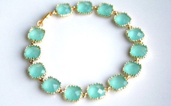 Items similar to aqua blue mint gold bracelet glass bracelet mint green light mint mint - Light blue and mint green ...