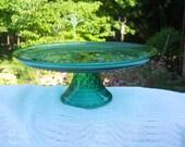 "Vintage Teal Green Anchor Hocking Wexford Pattern Cake Plate-12"" Top Diameter"