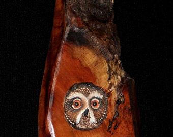 Wood Bird Carving -  Owl Art - OOAK -  Hand Carved and Sculpted in Cherry