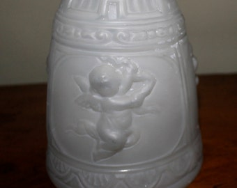 Vintage Cherub Lamp Shade/Vintage Replacement Lamp Shade/Embossed Lamp Shade/Collectible Glass Shade