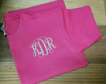 Monogrammed Youth-Children's Tshirt/Custom Monogram Shirt/Glitter Personalized Shirt/Childrens Monogram Shirt/Monogram Kids Shirt/Kids Shirt