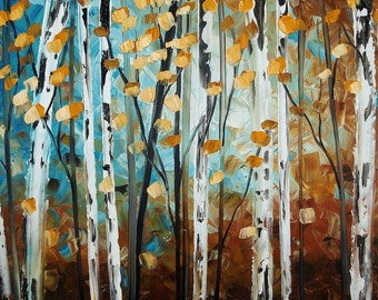 "40"" original Birch garden textured painting from listed artist Jolina Anthony"