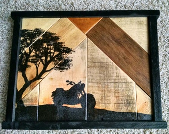 Rustic Hand Painted Motorcycle Silhouette on Reclaimed Wood Panel...Great Gift Idea...One of a Kind Piece...Made in Minnesota...Primitive