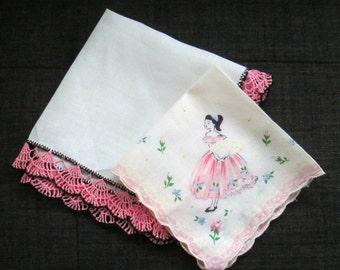 Pink and Black Handkerchiefs 1940s 1950s Hankies Mid Century Teenage Girl