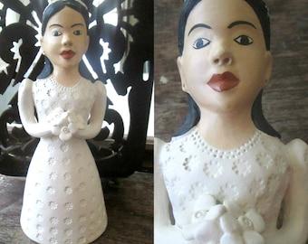 Artisan Ceramic Bride Doll Tequitinhona Brazil Wedding Figure