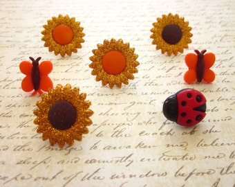 Sunflower Bugs Fall Thumbtack, Fall Flowers Push Pin, Fall Color Notice Board Pins, Fall Deco