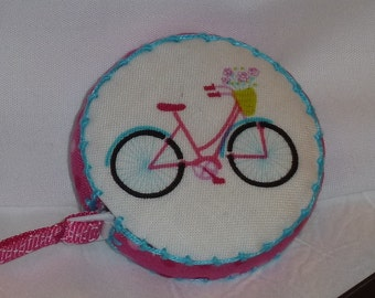 Vintage bicycle from Studio E on a Retractable tape measure, covered with fabric