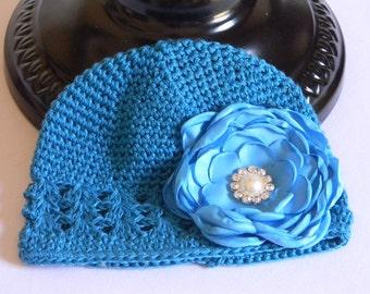 "Aqua Blue Crocheted Beanie Hat for Infant w/ 3"" Aqua Blue Satin Flower & Rhinestone Pearl Center on Alligator Clip Photo Prop Baby Portraits"