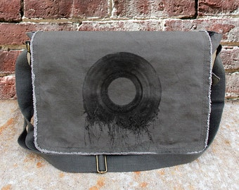 Vinyl Record Roots - Screen Printed Messenger Bag - Khaki Green