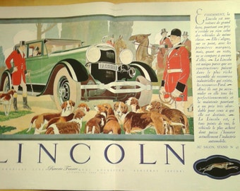 Art Deco Vintage French Ad-Lincoln Automobile 1931 Hunting