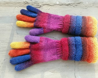 Rainbow Multicolor Long Gloves. Handknitted Wool Gusset Gloves. Knitted Winter Arm Warmers. Women Wool Handknitted Mittens. Gift for Her.