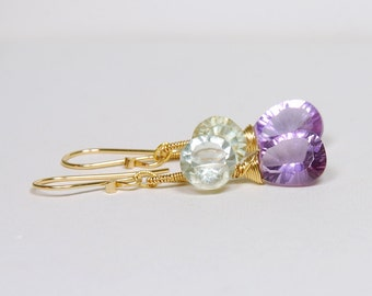 Amethyst Dangle by Agusha. Green Amethyst And Pink Amethyst Earrings
