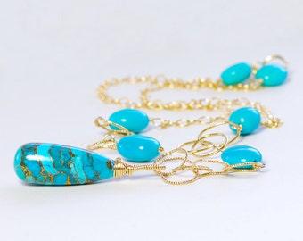 Turquoise Necklace by Agusha. Blue Gemstone Necklace
