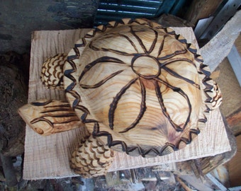 turtle box/ bowl ,pine wood, order only chainsaw carving
