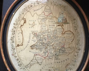 Rare fine antique late 18th century embroidered silk on silk framed oval map sampler of the British Isles