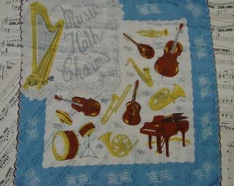 "Vintage Hanky,Handkerchief, Novelty ""Music Hath Charms"" Instruments"