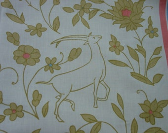 """Nice Vintage Decorator Fabric, Floral Stripe w/Animals 67"""" Wide x 63"""" and a 67 x 22"""" Piece"""