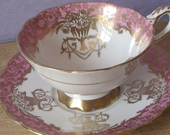 Vintage 1950's Gold Rose bouquets teacup and saucer, Royal Stafford pink tea cup set, Bone china teacup, Pink and gold English tea cup set