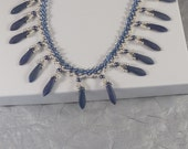 Blue Silver Ankle Bracelet - Seed Bead Fringe Anklet - Beaded 9 Inch to 10 Inch - Denim Blue Ankle Jewelry - Gypsy Style - Summer Jewelry