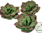 "Three 2 1/2"" unwired edible succulents, assorted colors. Edible cake topper gumpaste sugar flowers for a unique rustic wedding cake topper."